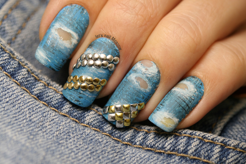 torn studded jeans design :) nail art by Let's Nail Moscow
