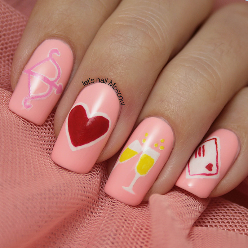 St Valentines Day design nail art by Let's Nail Moscow