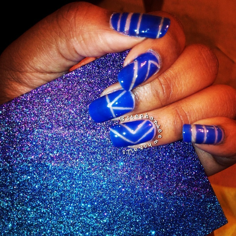 Negative Space Striping Tape Mani.  nail art by stephanieewho