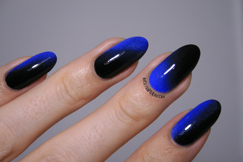 electric blue-to-black gradient nail art by Let's Nail Moscow - Electric Blue-to-black Gradient Nail Art By Let's Nail Moscow