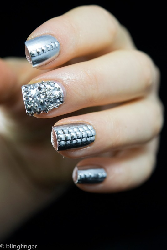Silver Studs nail art by  Petra  - Blingfinger