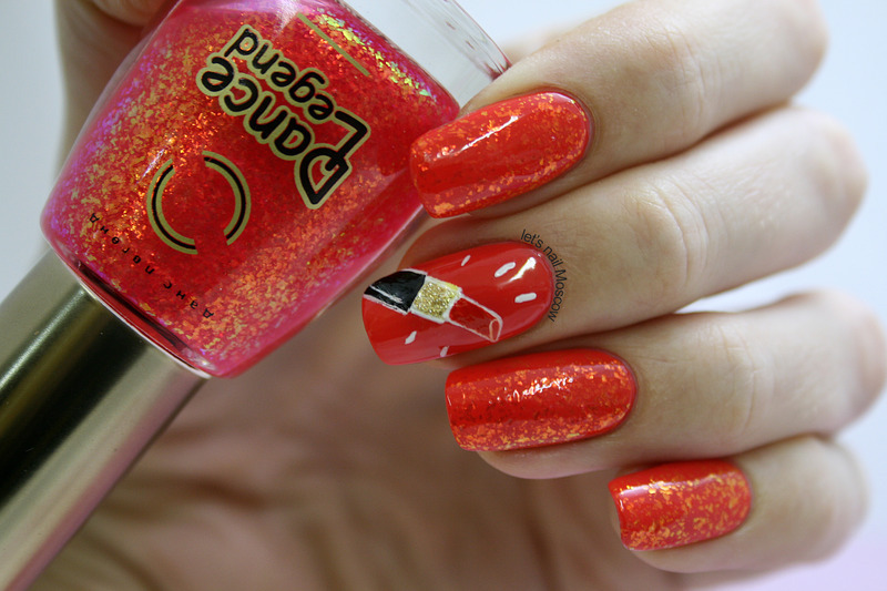 red lipstick nails nail art by Let's Nail Moscow