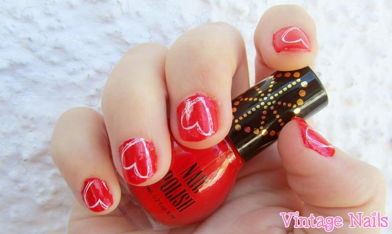 Manicura de San Valentín nail art by Vintage_Nails