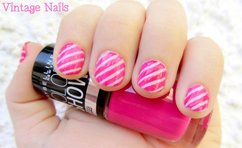 Manicura rosa a rayas nail art by Vintage_Nails