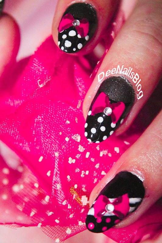 Retro bows and polka dots nail art by Diana Livesay