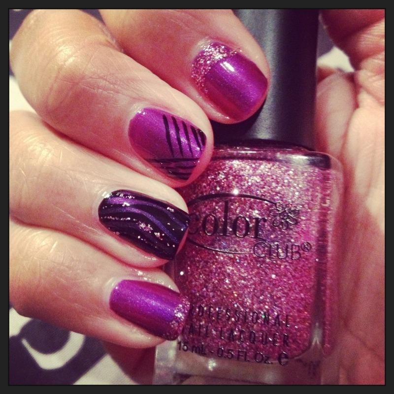 Purple & glitter  nail art by PumpUrNails by Chrisblackpink