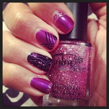 Purple & glitter  nail art by PumpUrNails by Chrisblackpink