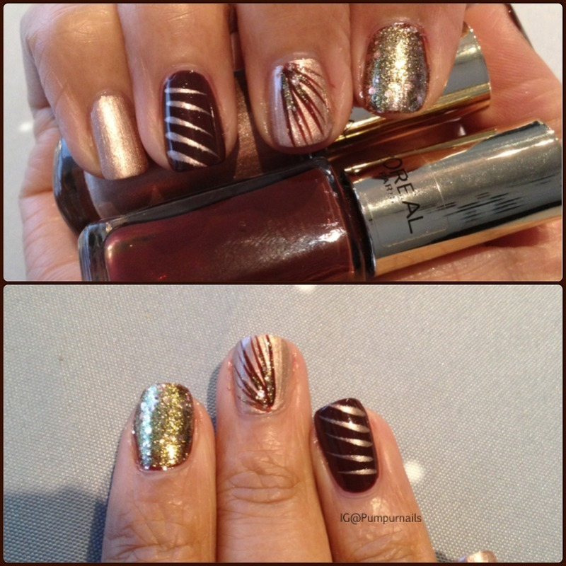Golden brown manicure  nail art by PumpUrNails by Chrisblackpink