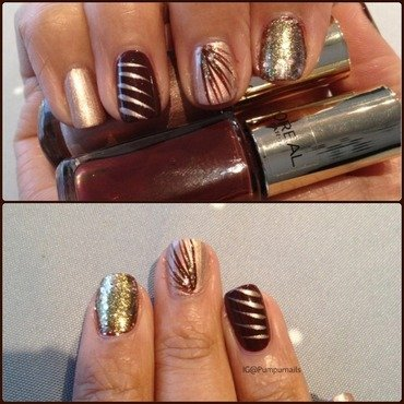 Golden brown manicure  nail art by PumpUrNails by Chrisblackpink