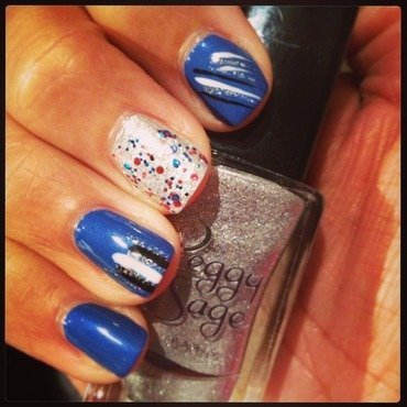 Blue, stripes and silver nail art by PumpUrNails by Chrisblackpink