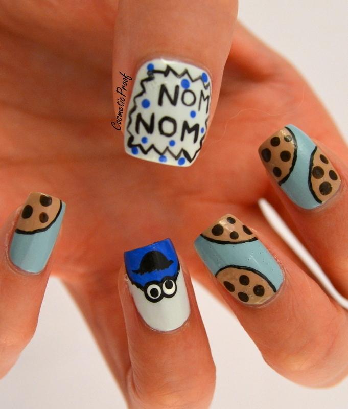 Cookie Monster nail art by Jayne