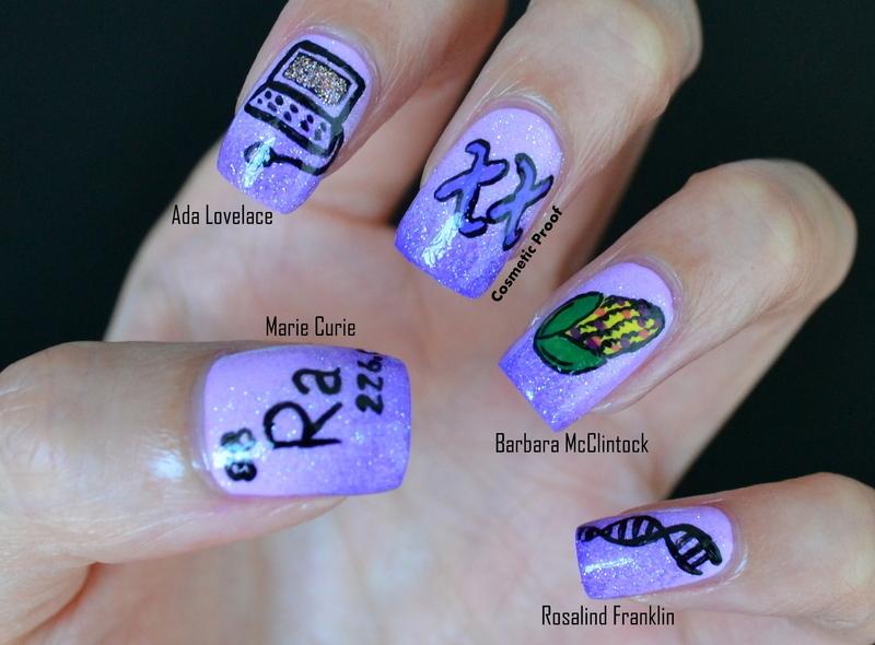 Women of Science nail art by Jayne