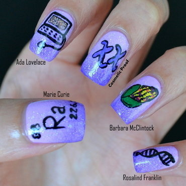 Women of Science nail art by Jayne