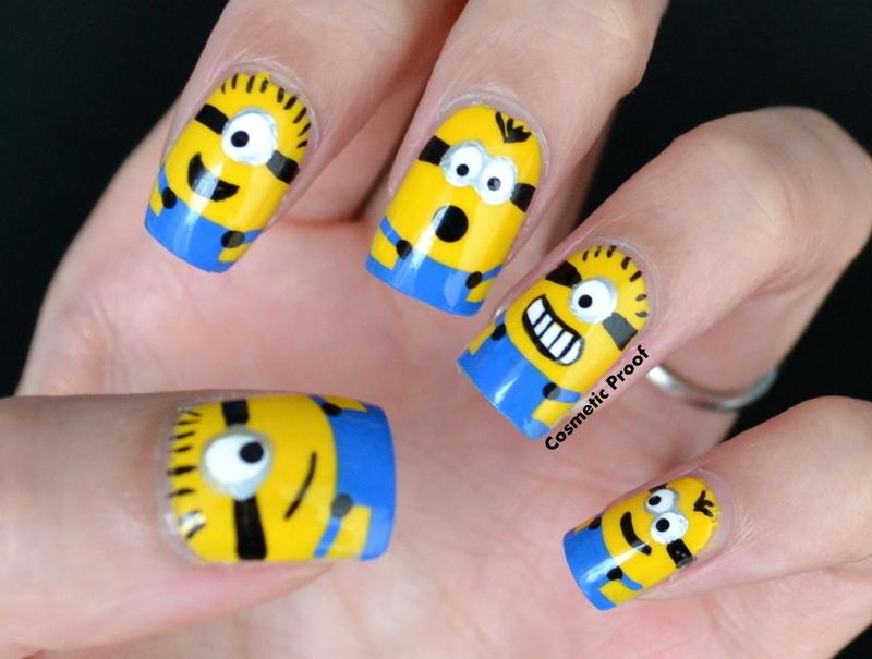 Minions nail art by Jayne
