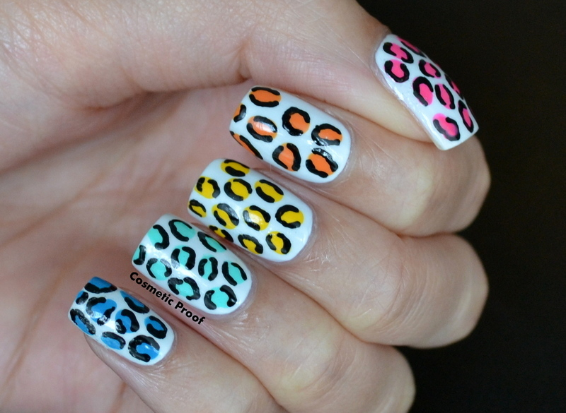 Rainbow Leopard Print nail art by Jayne