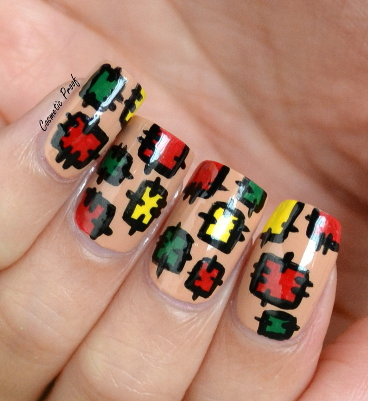 Fall Patchwork nail art by Jayne