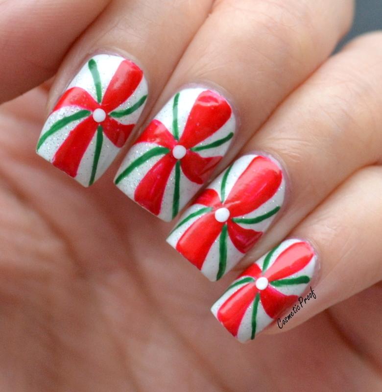 Candy Cane Pinwheels nail art by Jayne