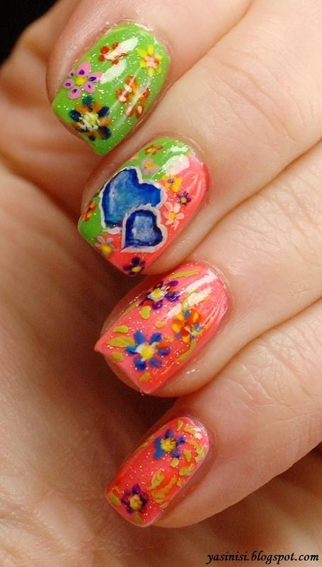 Neon Love Story nail art by Yasinisi