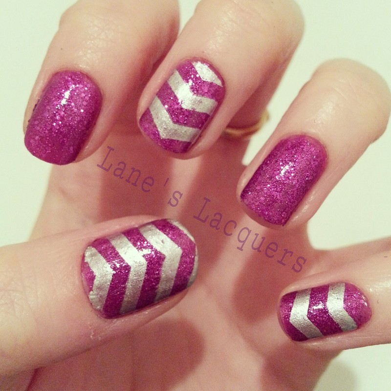 Sparkly Chevrons nail art by Rebecca