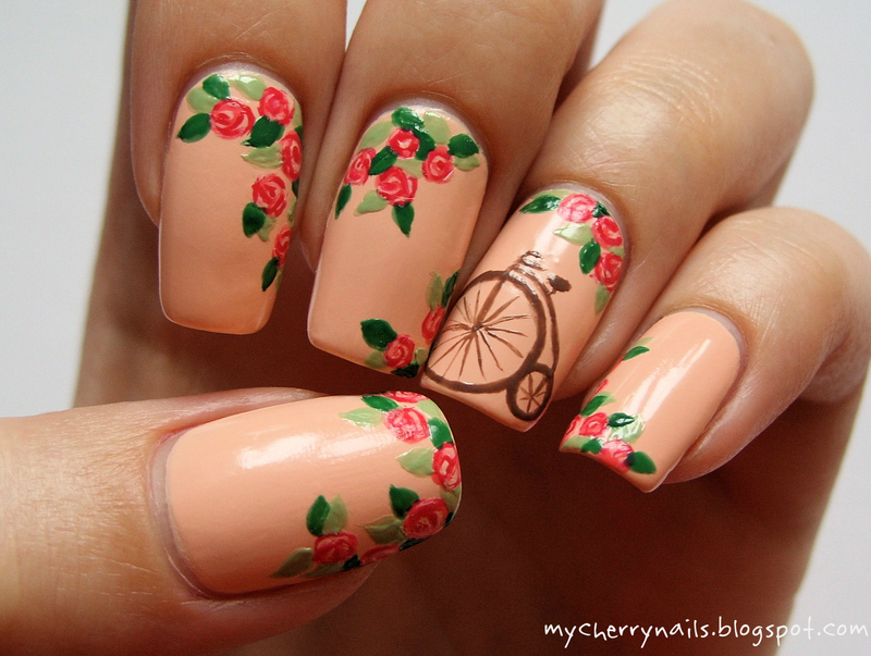 Bicycle & roses nail art by Pauline