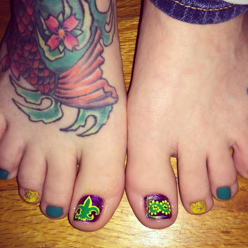 Mardi Gras pedicure nail art by Stacie Green - Nailpolis: Museum of ...