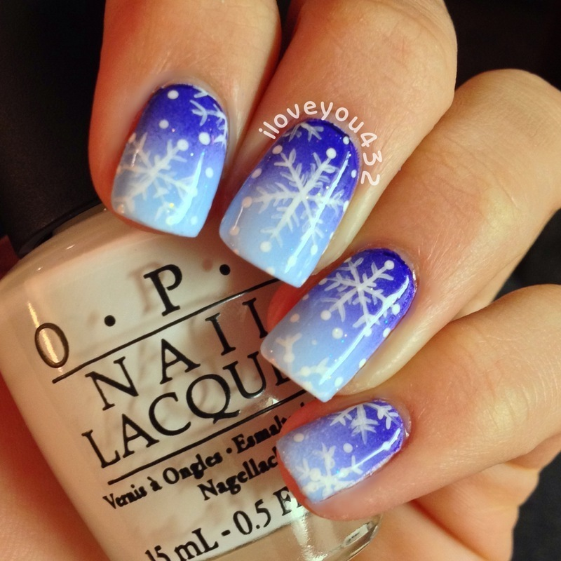 Snowflake Gradient Nails nail art by Taylor