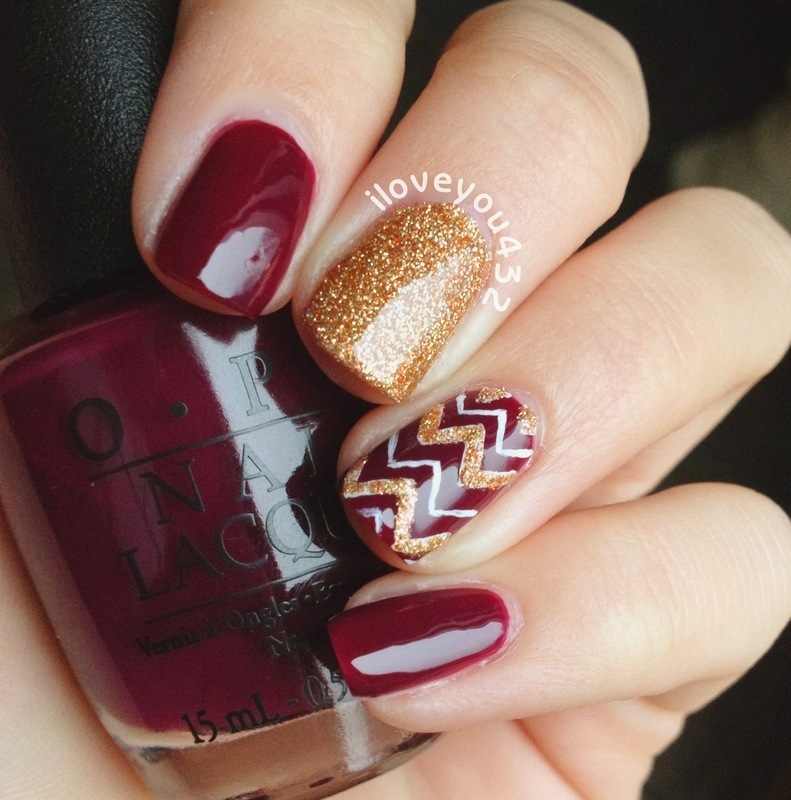 Deep Red Chevron  nail art by Taylor