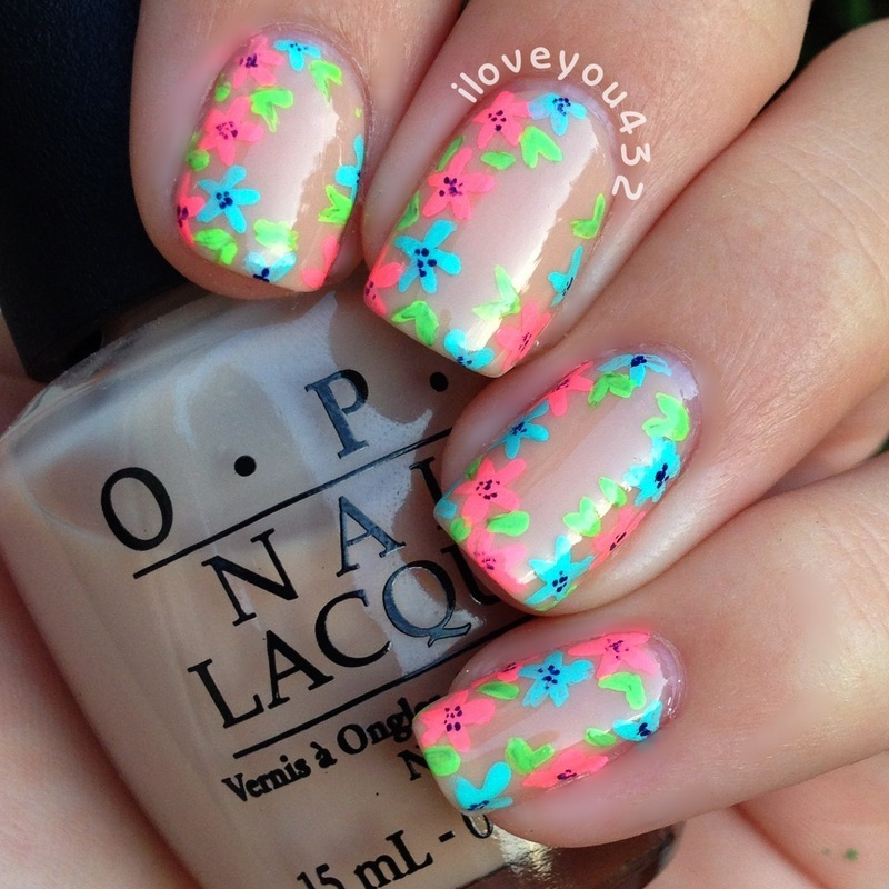 Neon Flowers nail art by Taylor