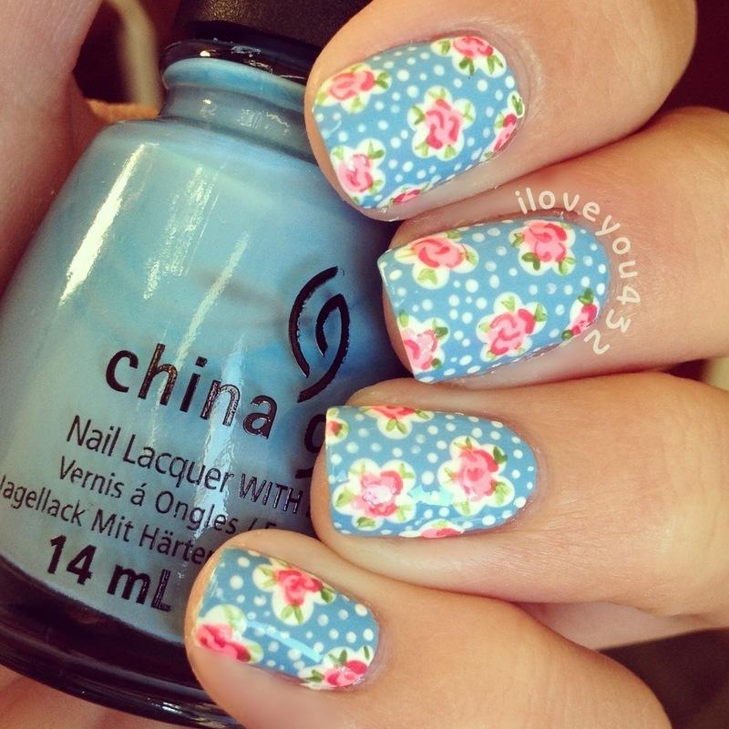 Polka Dotted Roses nail art by Taylor