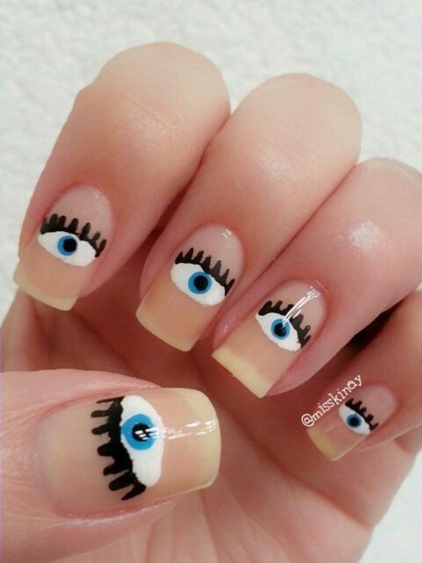 Eyes nail art by Ximena Echenique