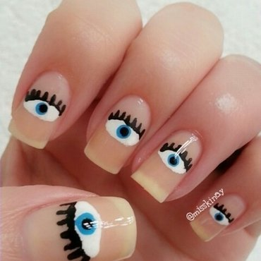 Eyes nail art by Ximena Echenique