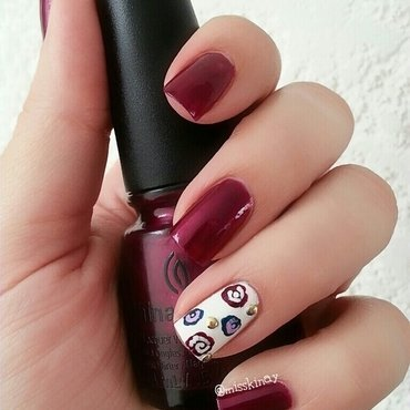 Roses & Studs nail art by Ximena Echenique