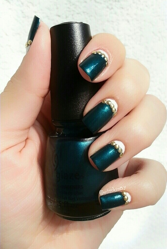 Half Moon & Studs nail art by Ximena Echenique