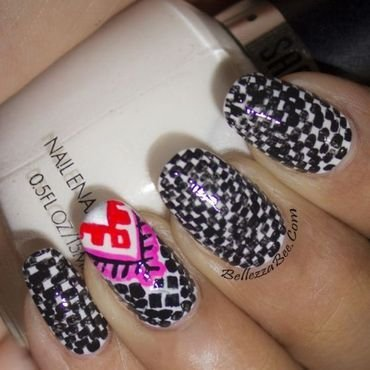 B&W Checkers nail art by Naomi Hing