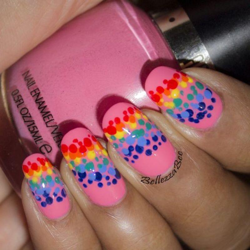 Rainbow Dots nail art by Naomi Hing