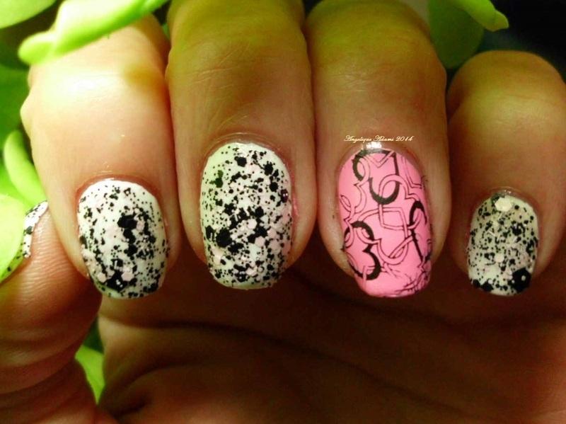 Splash of love nail art by Angelique Adams