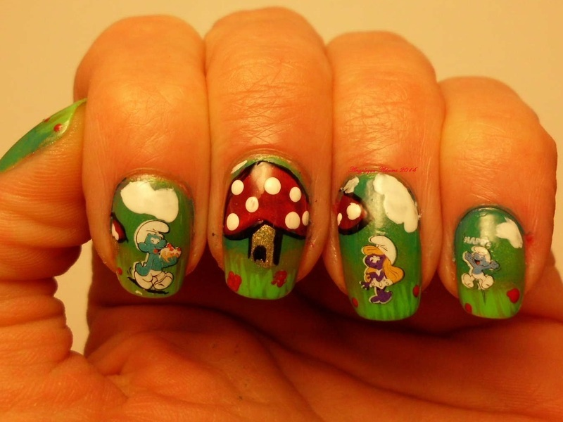 Smurfs nail art by Angelique Adams