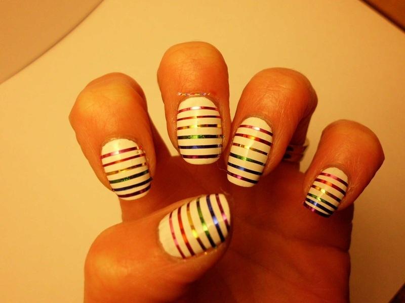 Rainbows nail art by Angelique Adams