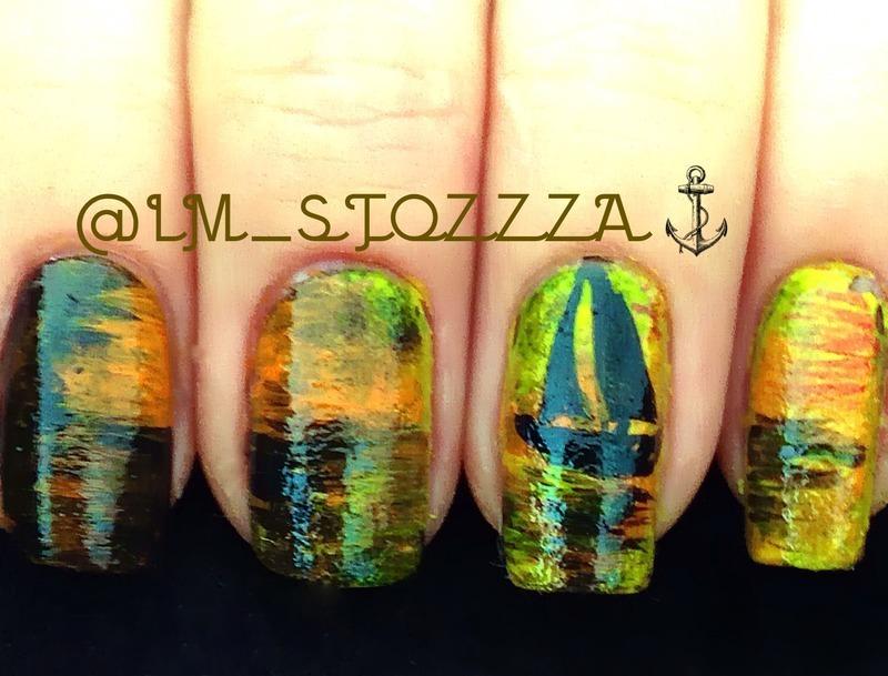 Sailing away nail art by Louise