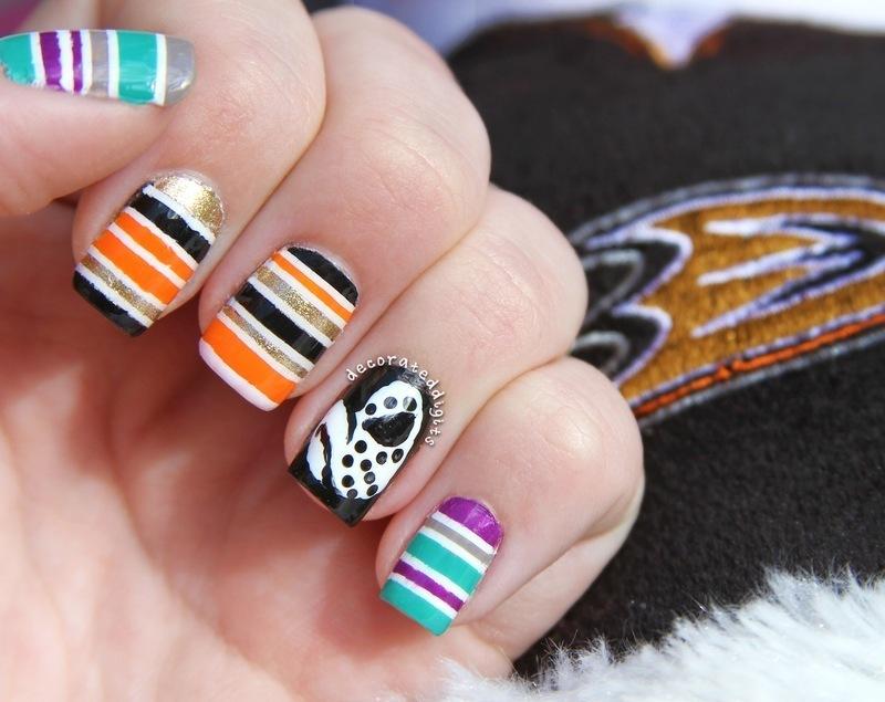 Anaheim Ducks hockey mani nail art by Jordan