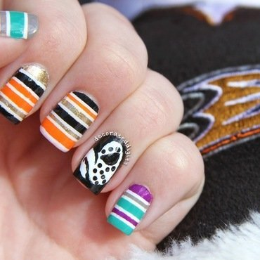 Anaheim Ducks hockey mani nail art by Jordan