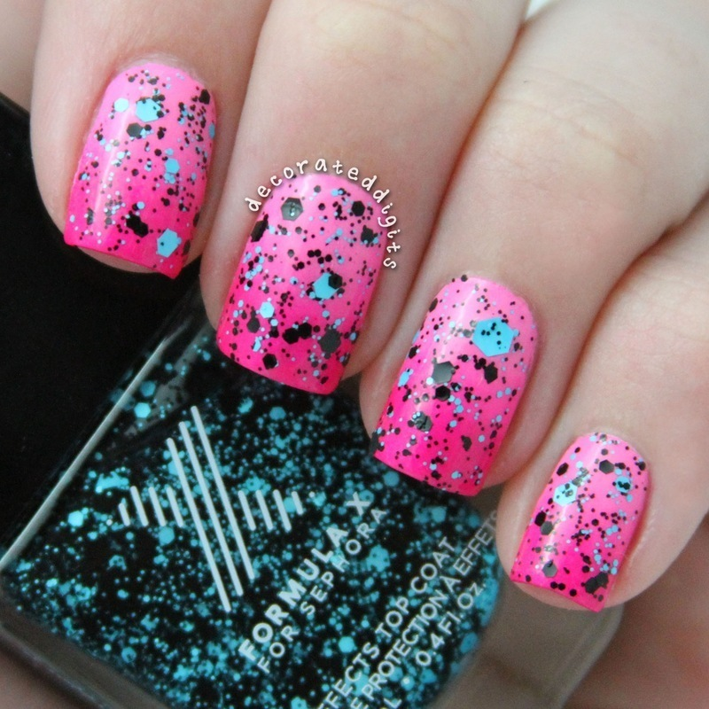 Pink gradient with blue and black glitter nail art by Jordan
