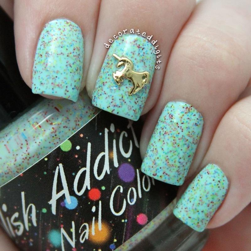 Unicorn Love swatch nail art by Jordan
