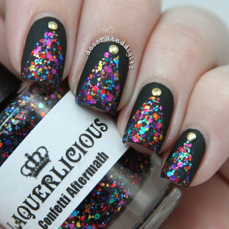 Matte glitter triangle with studs nail art by Jordan