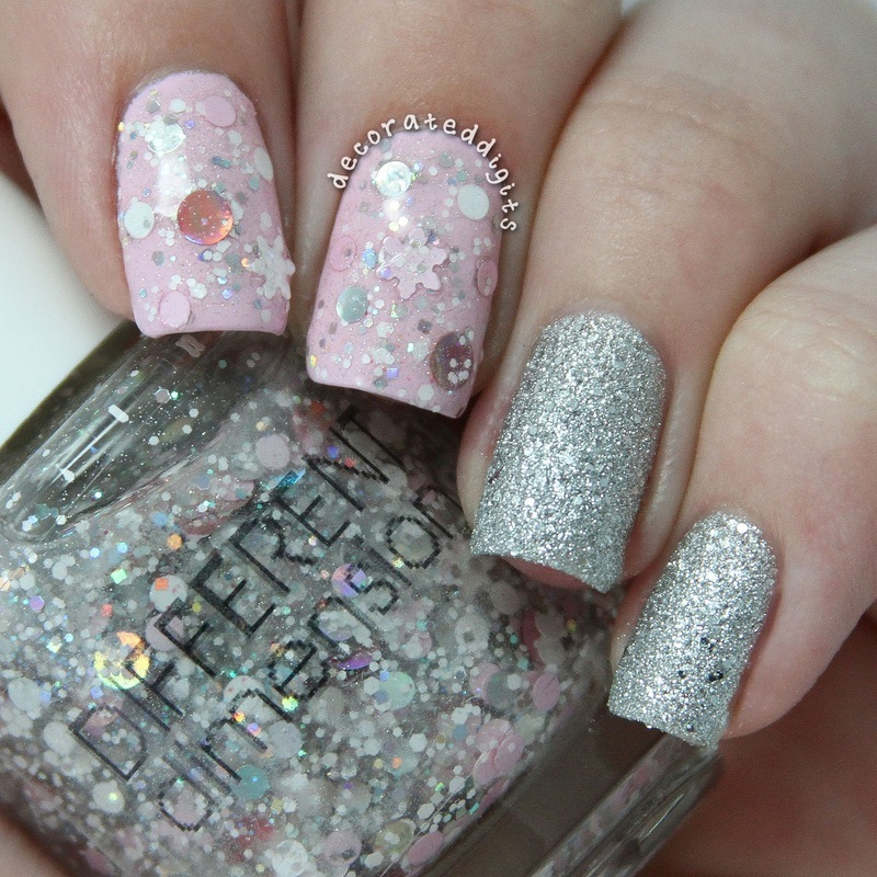 Delicate pink and silver winter mani nail art by Jordan