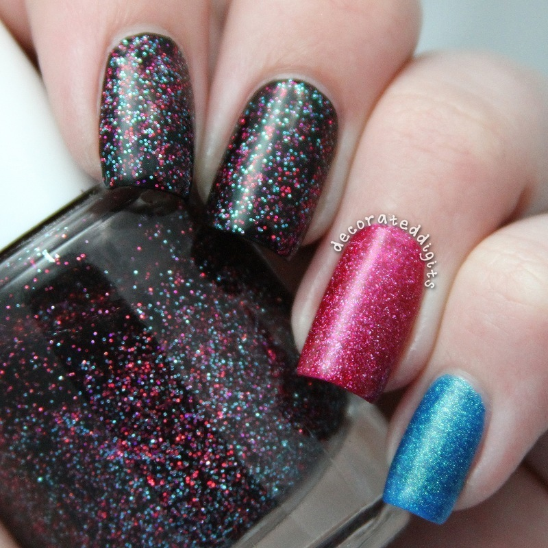 Black, pink and blue skittlette nail art by Jordan