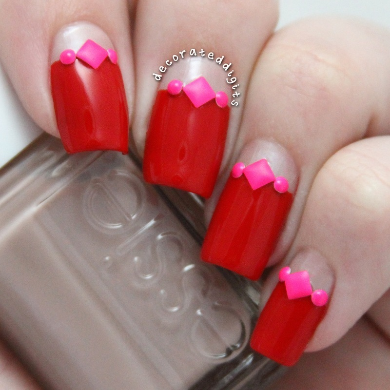 Red valentine with neon pink studs nail art by Jordan