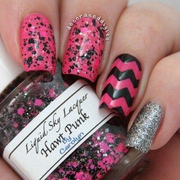 Pink and black valentine skittlette nail art by Jordan