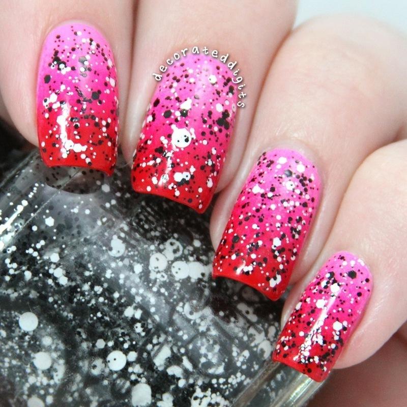 Pink to red valentine gradient nail art by Jordan