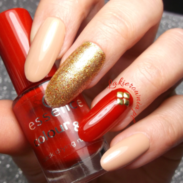 Red, nude, gold glitter and studs! nail art by Iwona